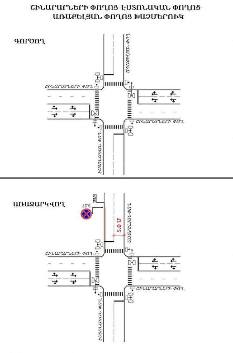 Երթևեկության կազմակերպման փոփոխություն Երևան քաղաքի Շինարարների փողոց-Էստոնական փողոց-Առաքելյան փողոց խաչմերուկում